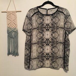 J BRAND Black Tan back zipper short sleeve blouse